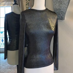 NWOT FOREVER 21 METALLIC MOCK NECK LONG SLEEVE